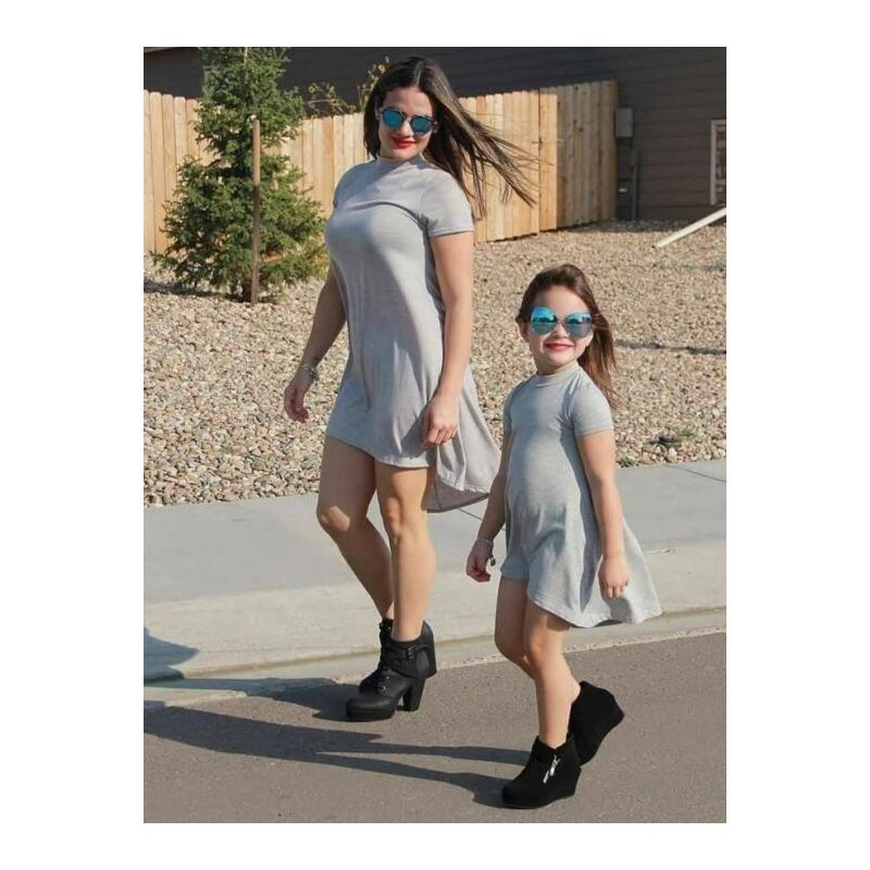 Mom & Me Summer Solid Color Dress Red/Grey