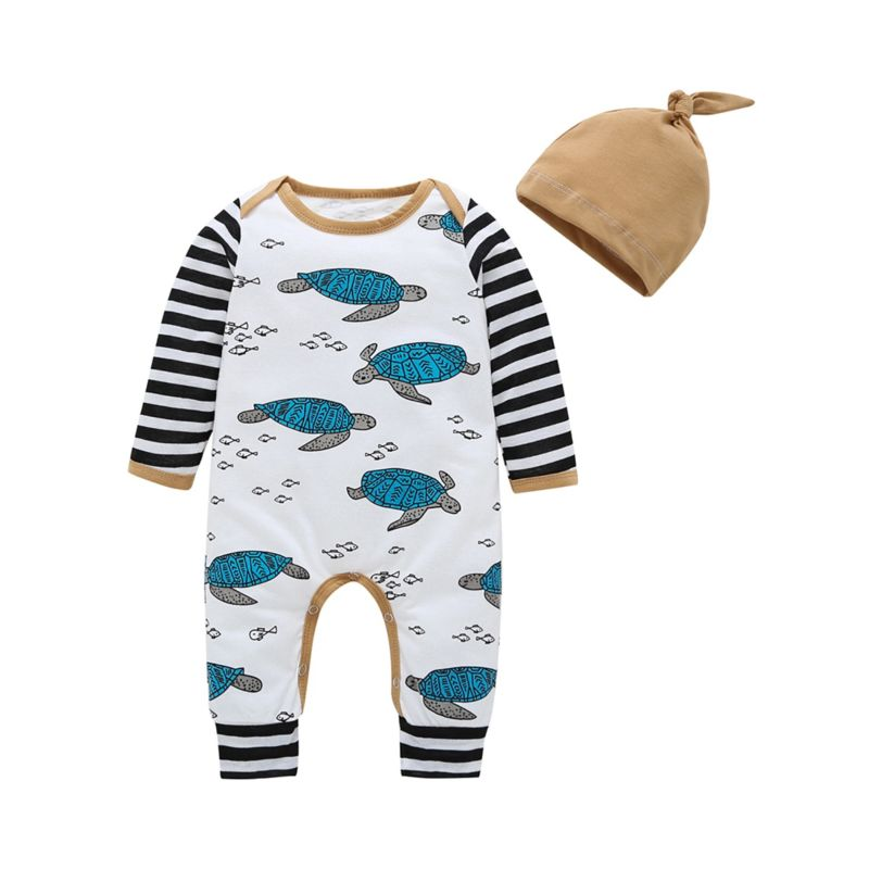 Cartoon Turtle Striped Print Baby Sleepsuit Overalls with Hat
