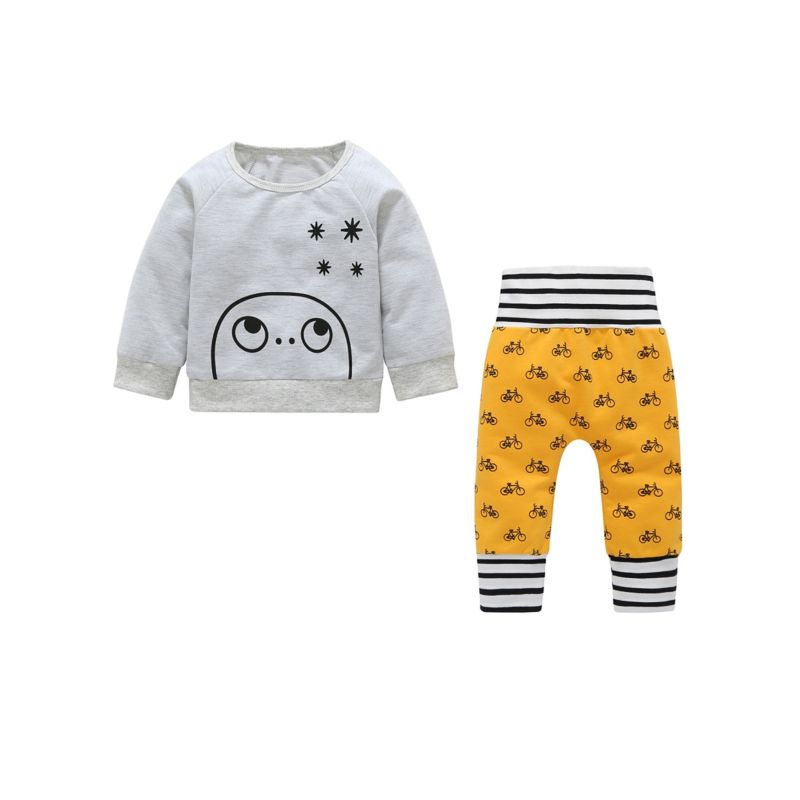 2-Piece Spring Baby Clothes Outfits Set Cartoon Long-sleeved T-shirt + Bicycle Print Pants