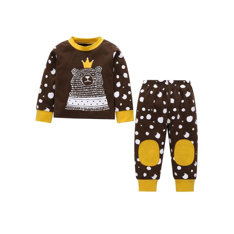 2-Piece Spring Baby Cartoon Bear T-shirt Top+ Pants Set