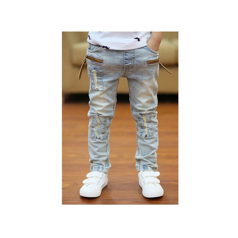 Fashion Spring Toddler Big Boys Frayed Jeans with Zip