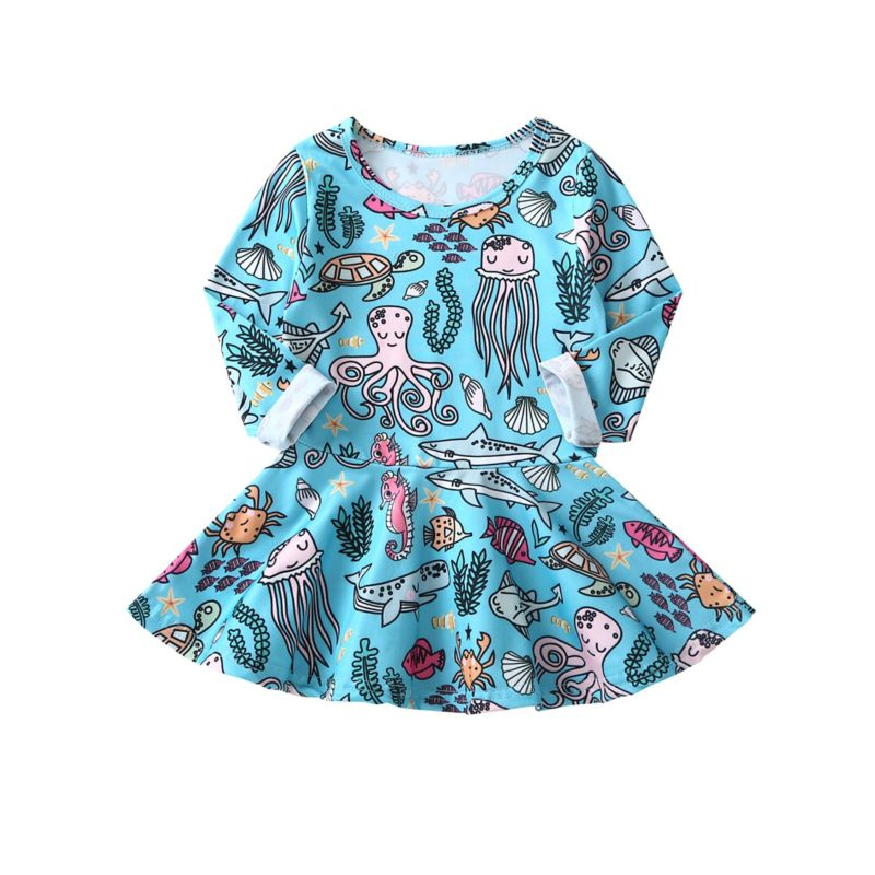 Spring Baby Little Girl Cartoon Underwater World Long-Sleeved Casual Dress