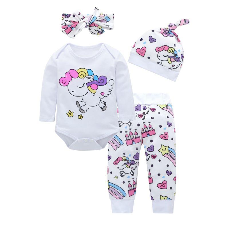 4-Piece Cute Spring Cartoon Unicorn Rainbow Print Baby Bodysuit + Pants +Headband+Hat Set