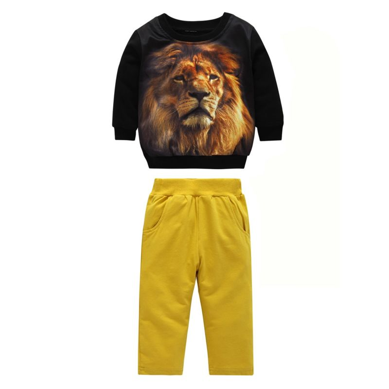 2-Piece Baby Little Boys Clothing Outfits Set Lion Jumper+ Casual Trousers