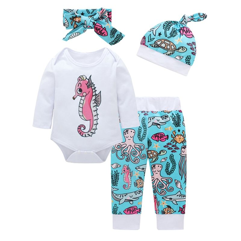 4-Piece Cartoon Underwater World Baby Clothes Outfits Set Long-sleeved Bodysuit + Pants + Headband + Hat