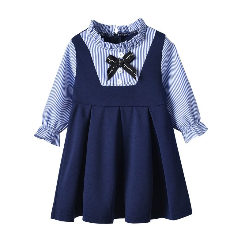 Long-sleeved Ruffle Collar Bow Girls One-piece Dress for Spring
