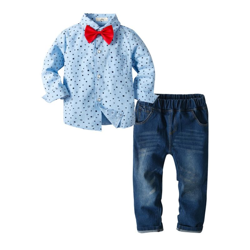3-Piece Spring Boys Star Print Long-sleeved  Button-up Shirt with Bow Tie+ Jeans Set