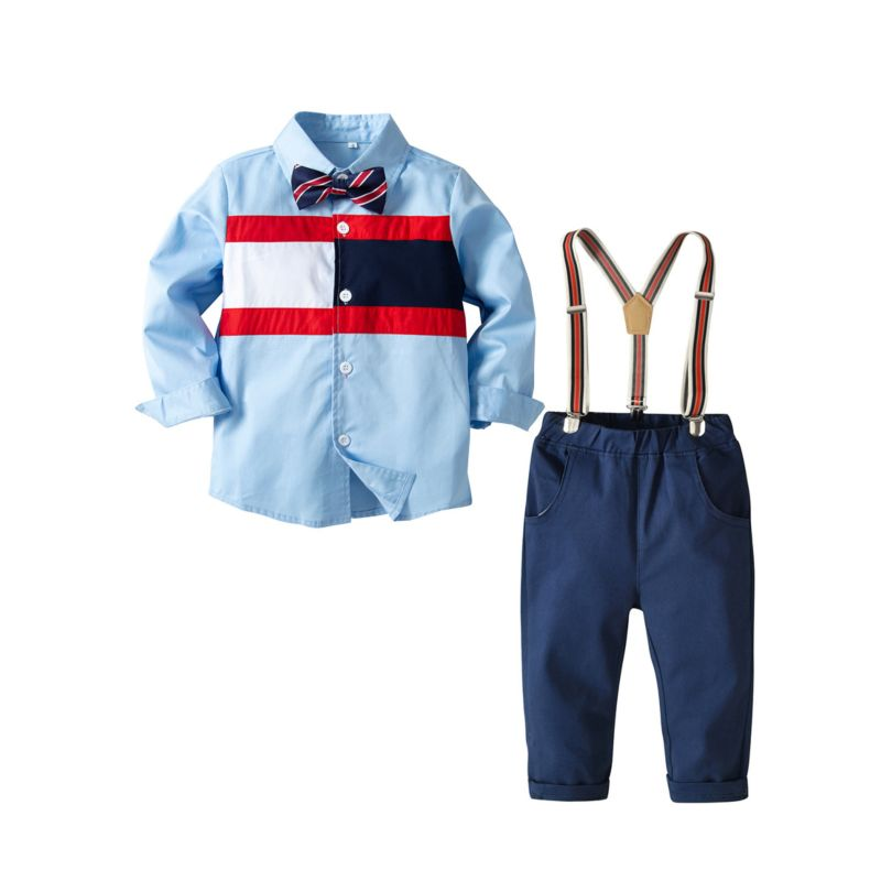4-Piece Boys Casual Clothes Outfits Set Color-blocking Long-sleeved Button-down Shirt + Bow Tie +Adjustable Shoulder Straps Casual Pants
