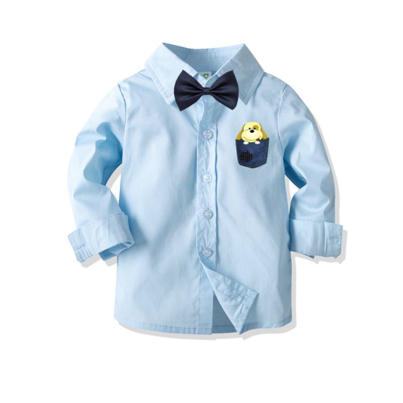 Cartoon Dog Long-sleeved Light Blue Boys Button-up Shirt with Bowtie