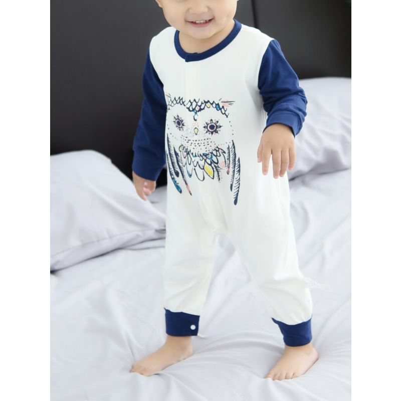 Cute Cartoon Owl Baby Jumpsuit Overalls Long-sleeved