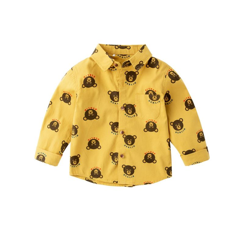 Spring Cute Cartoon Bear Print Boys Button-up Shirt Long-sleeved