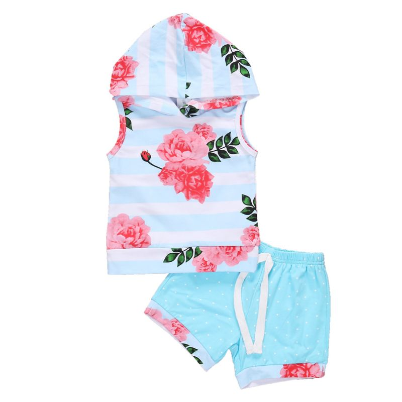 2-Piece Summer Baby Little Girl Flower Print Hooded Tank Top + Short Pants Set