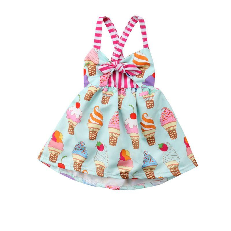 Sweet Infant Little Girl Ice-cream Print Bow Cross Dress for Summer