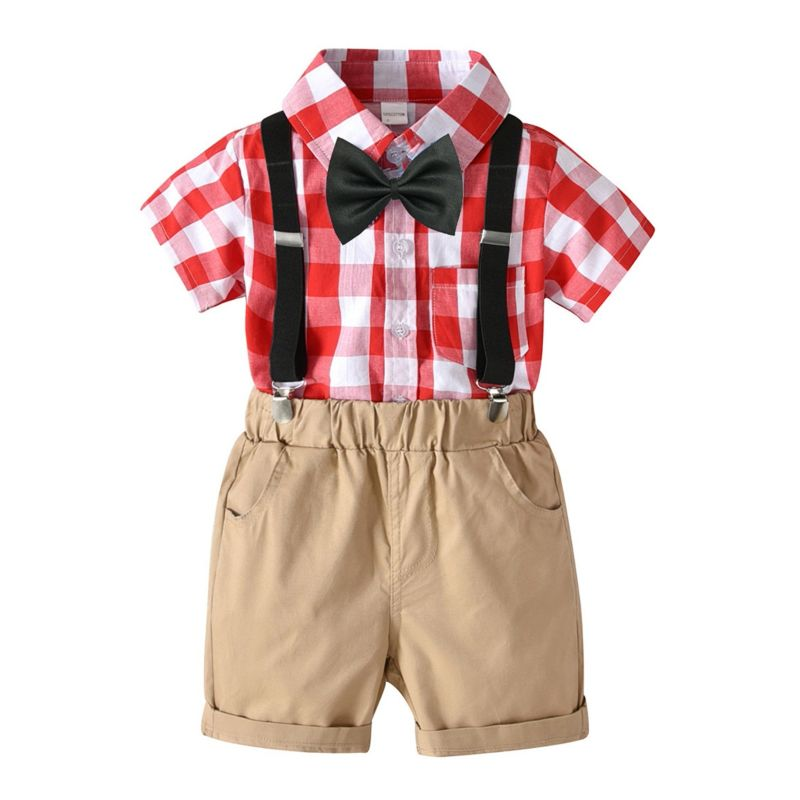 4-Piece Summer Cute British Style Baby Boys Clothing Outfits Plaid Button-down Shirt +Bowtie+Adjustable Shoulder Straps  Short Pants
