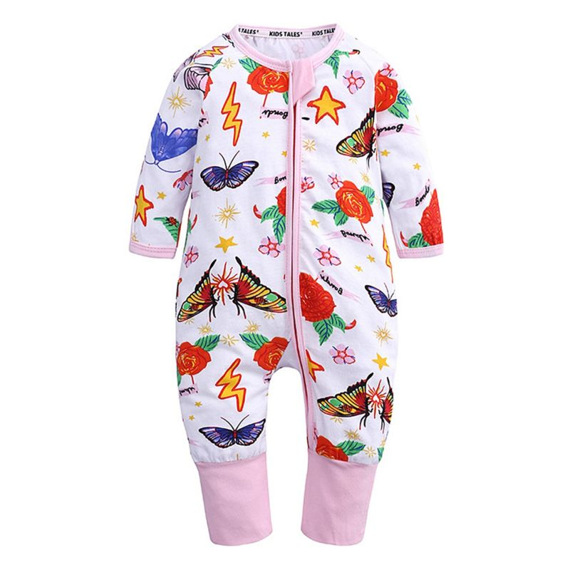 Spring Long-sleeved Flower Butterfly Baby Girl Zip Jumpsuit