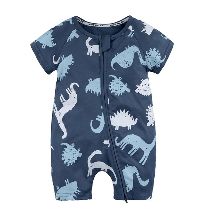 Summer Cartoon Animal Print Short-sleeved Baby Boys Romper Onesie Tiger/Dolphin/Bird/Dinosaur