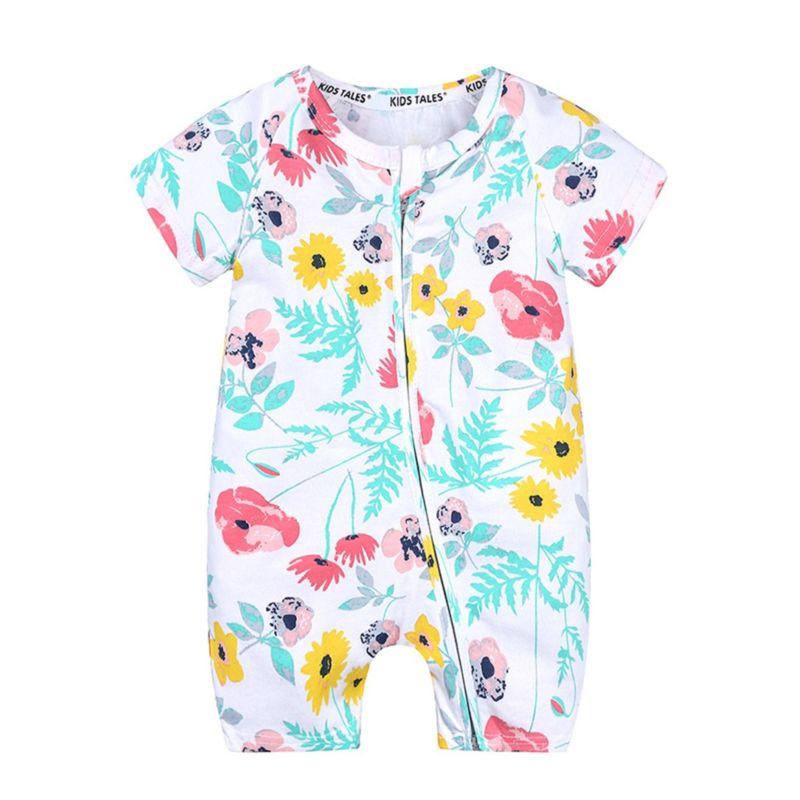 Summer Newborn Flower Print Short-sleeved Zip Romper