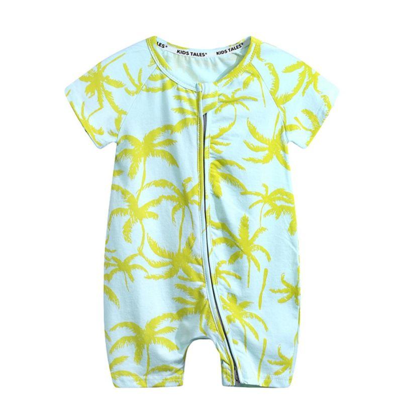 Summer Leaf Print Short-sleeved Baby Romper Onesie