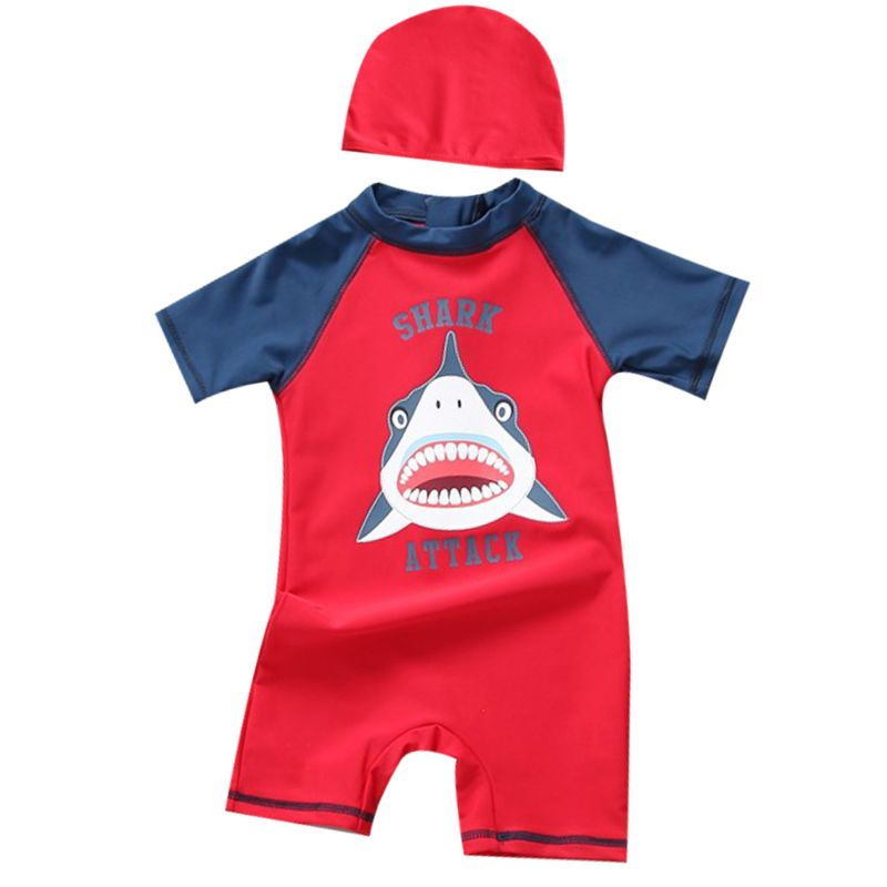 2-Piece Baby Boys Shark Color-blocking Swimwear + Swim Hat