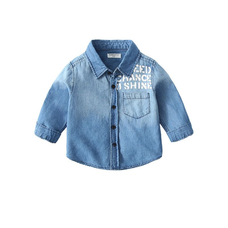 Toddler Big Boys Letters Print Denim Jacket Long-sleeved for Spring