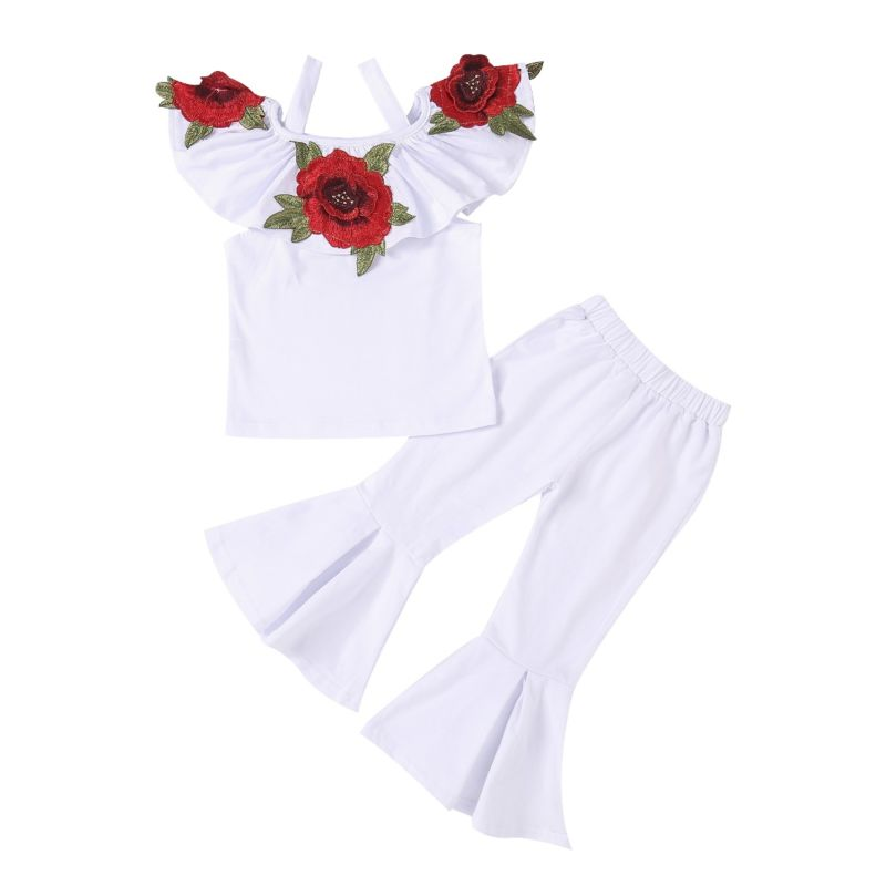 2-Piece Chic Toddler Big Girls Flower Embroidery Ruffled White Top + Bell-bottomed Pants Set