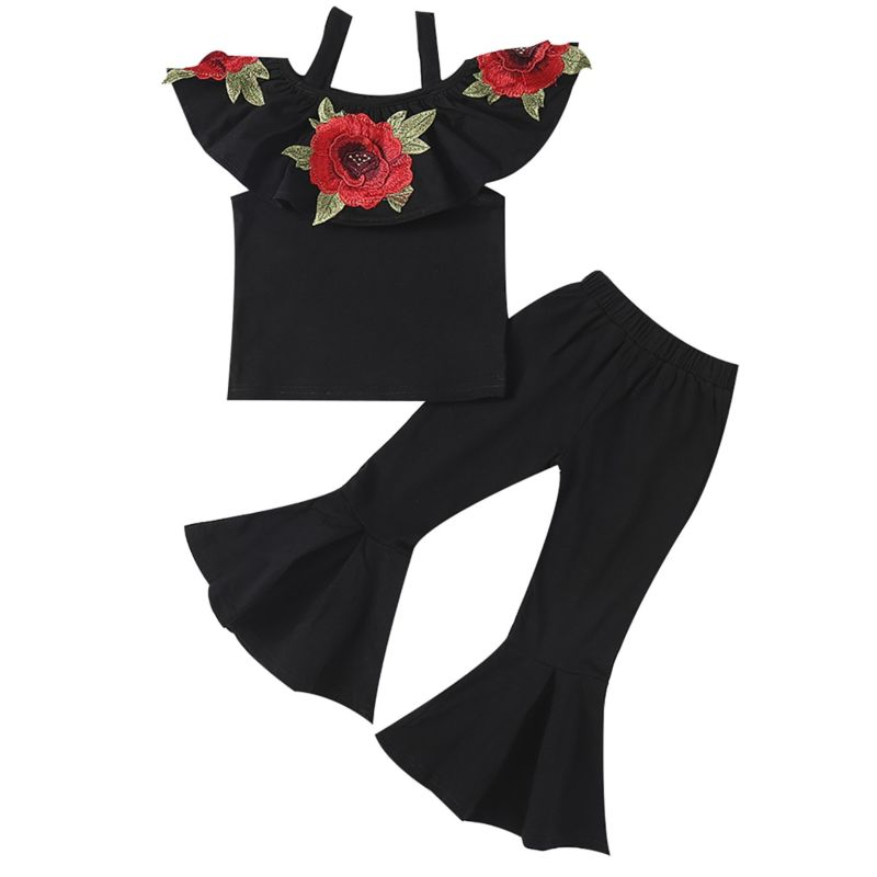 2-Piece Fashion Kids Summer Clothes Outfits Set Flower Embroidery Ruffled Black Top + Bell-bottomed Pants