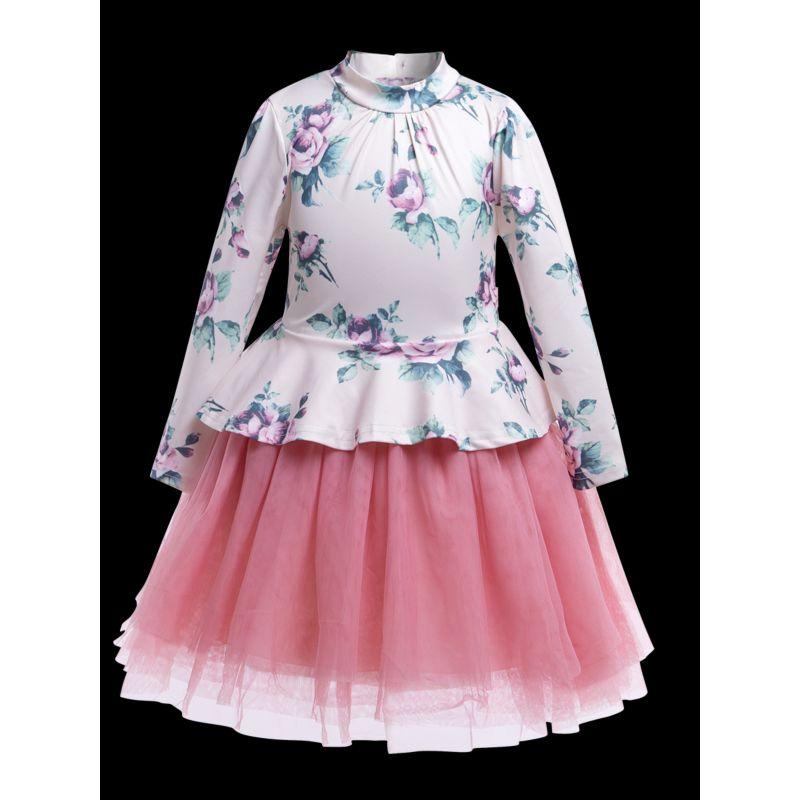 Vintage Toddler Big Girls Flower Print Mesh Patchwork Dress Long-sleeved