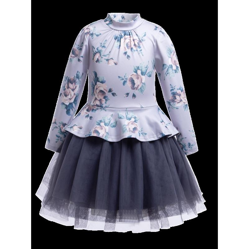 Chic Toddler Big Girls Flower Print Mesh Patchwork Dress Long-sleeved for Spring