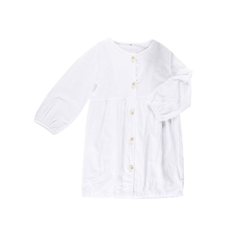 Kids White Long-sleeved Buttoned Casual Dress