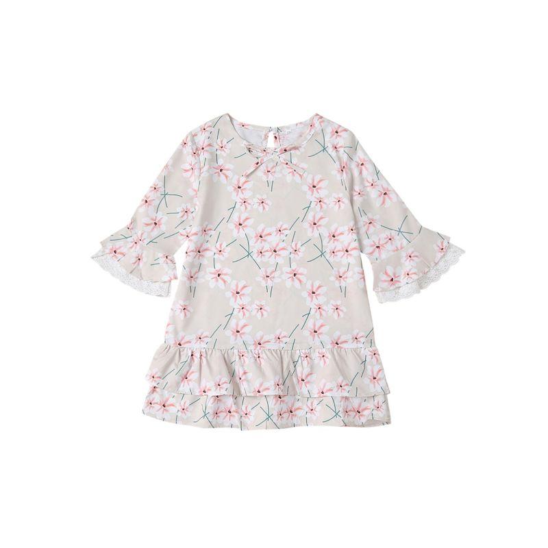 Kids Spring Bell-sleeved Floral Frilled Dress