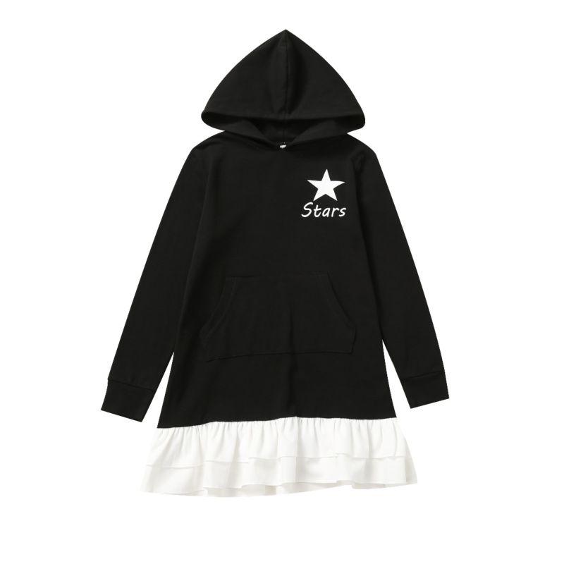 Fashion Toddler Big Girls Frilled Hem Stars Print Color-blocking Hoodie Top