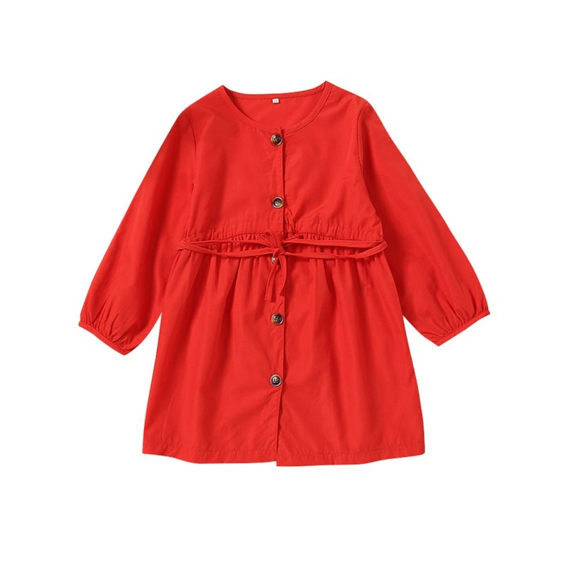 Kids Red Long-sleeved Buttoned Casual Dress