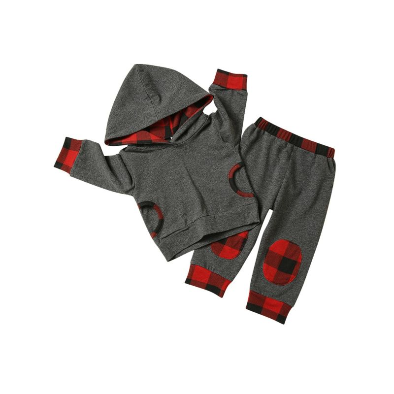 2-Piece Spring Baby Clothes Outfits Set Long-sleeved Hoodie + Checked Pants