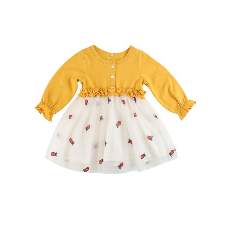 Cute Baby Girl Frilled Strawberry Print Mesh Patchwork Dress