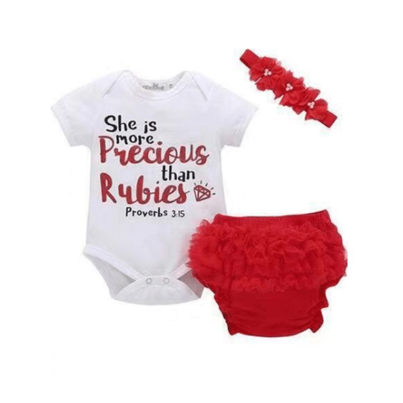 3-Piece Summer Baby Girl SHE IS MORE PRECIOUS THAN RUBIES Letters Print Bodysuit + Frilled Red Shorts + Flower Headband Set
