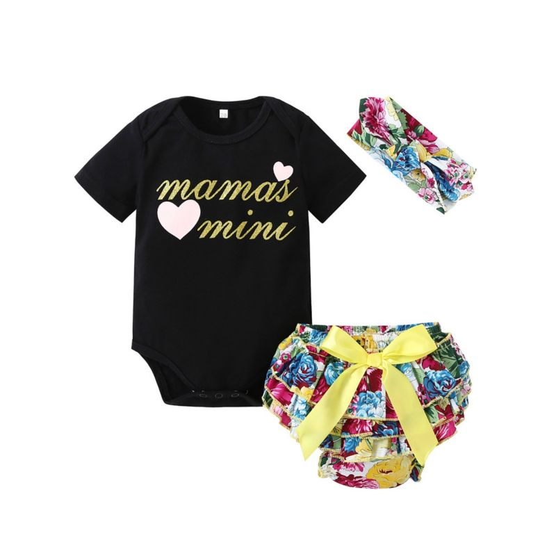 3-Piece Summer Newborn Baby Girl Clothes Outfits Set MAMAS MINI Letters Print Short-sleeved T-shirt+ Bow Flower Layered Shorts + Headband