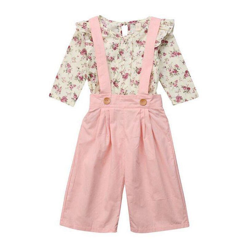 2-Piece Spring Little Girl Floral Long-sleeved Top + Pink Suspender Pants Set