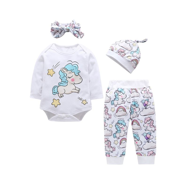 4-Piece Spring Cartoon Horse/Bird/Dinosaur Baby Clothes Outfits Set Romper + Pants + Hat + Headband