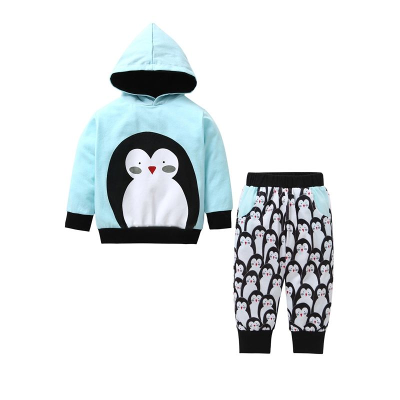2-Piece Spring Baby Little Kids Penguin Pattern Hoodie + Pants Set