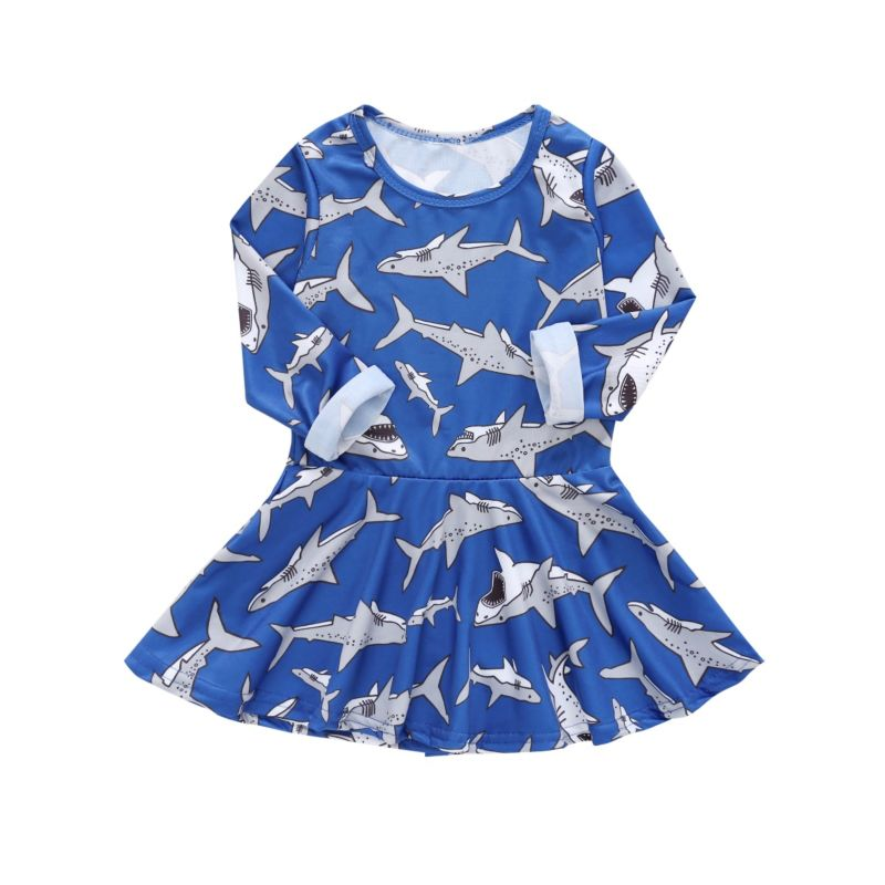 Baby Toddler Girl Shark Print Long-sleeved Casual One-piece Dress