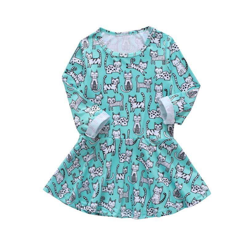 Spring Cat Print Baby Little Girl Casual Dress Long-sleeved