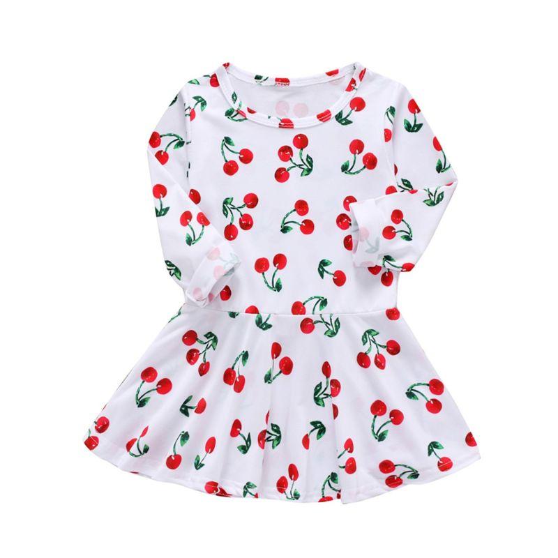 Spring Cute Cherry Print Infant Little Girl Casual Dress Long-sleeved