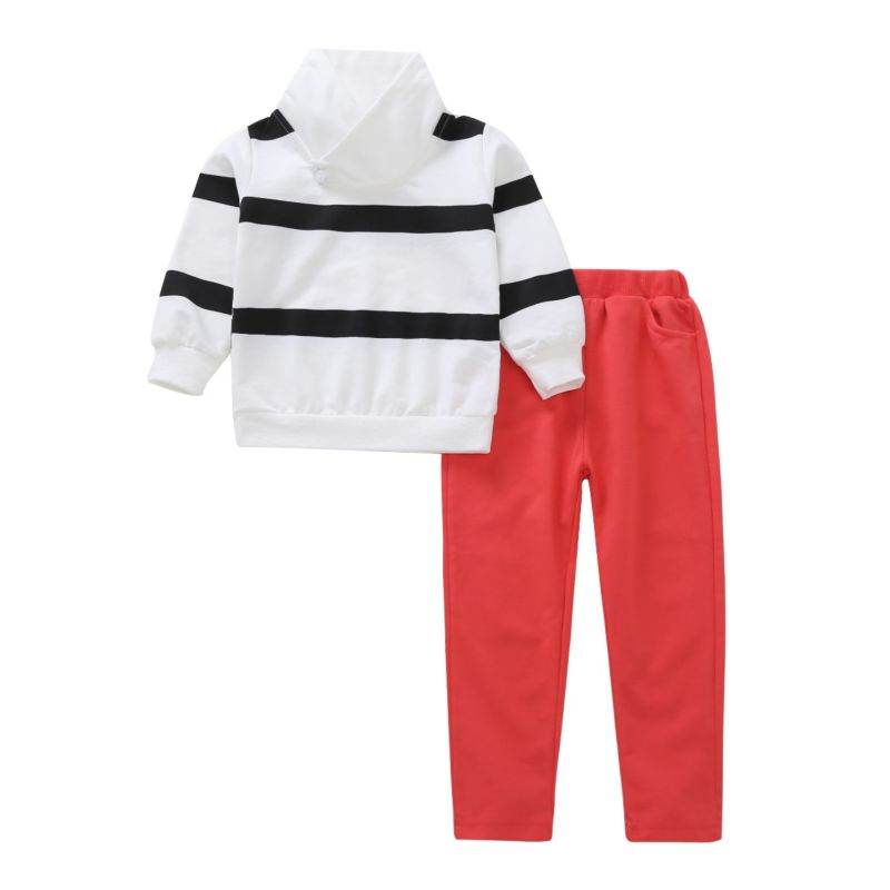 2-Piece Spring Baby Little Boy Striped Long-sleeved T-shirt+ Red Pants Set