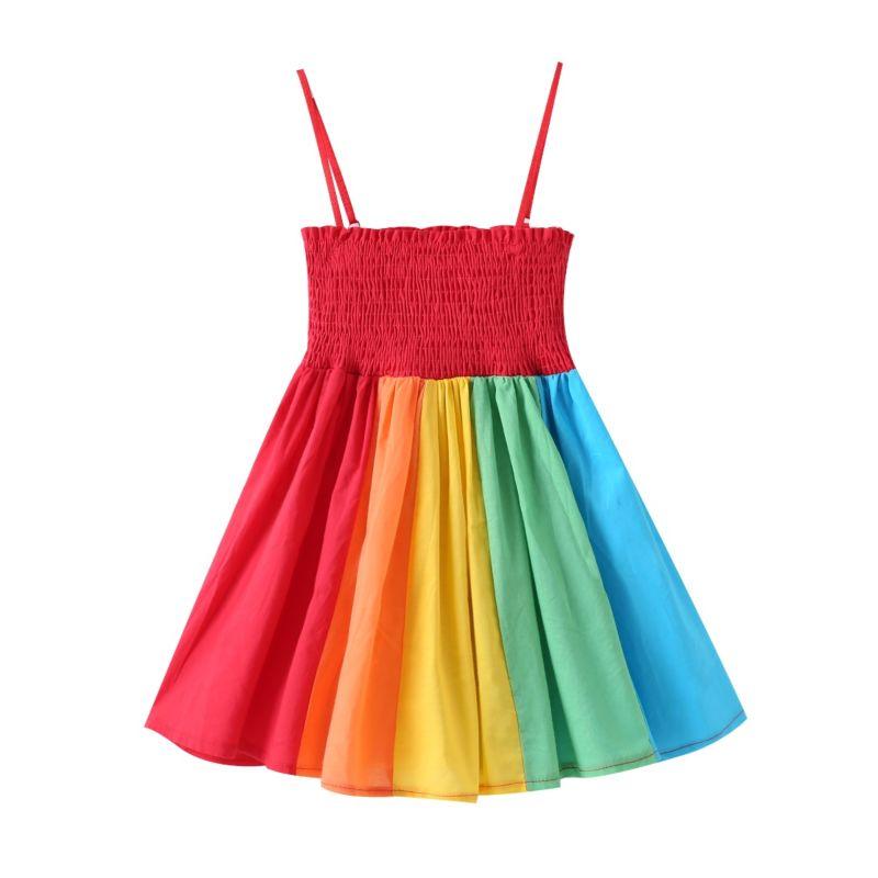 Summer Baby Little Girl Rainbow Color-blocking Sundress
