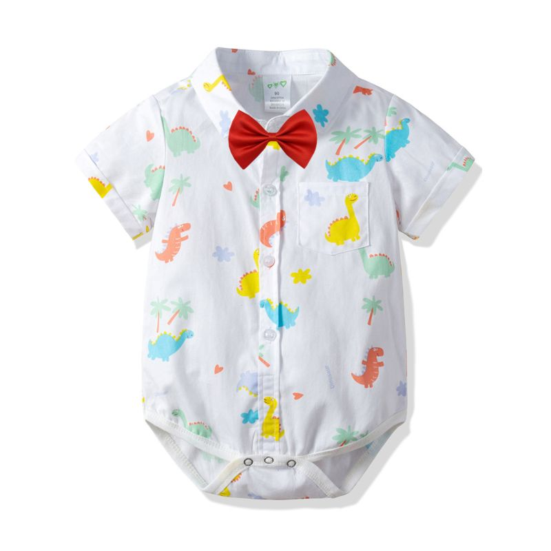 Summer Cute Cartoon Dinosaur Print Baby Boy Bodysuit with Bow Tie