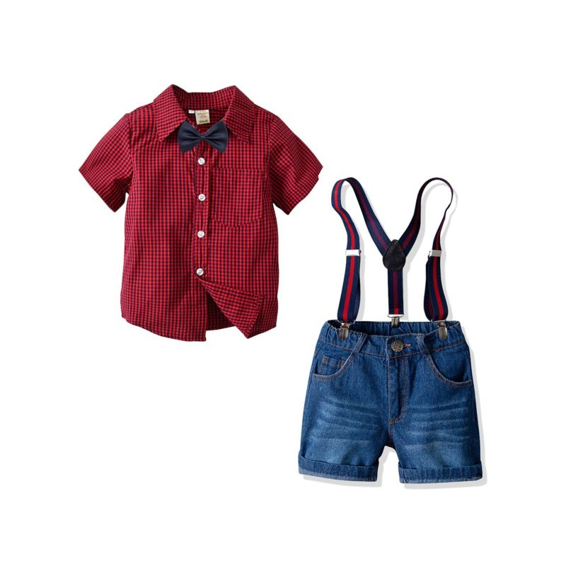 4-Piece Summer Classic British Style Toddler Big Schoolboys Clothes Outfits Set Checked Short-sleeved Shirt +Bowtie+Adjustable Shoulder Straps Short Jeans