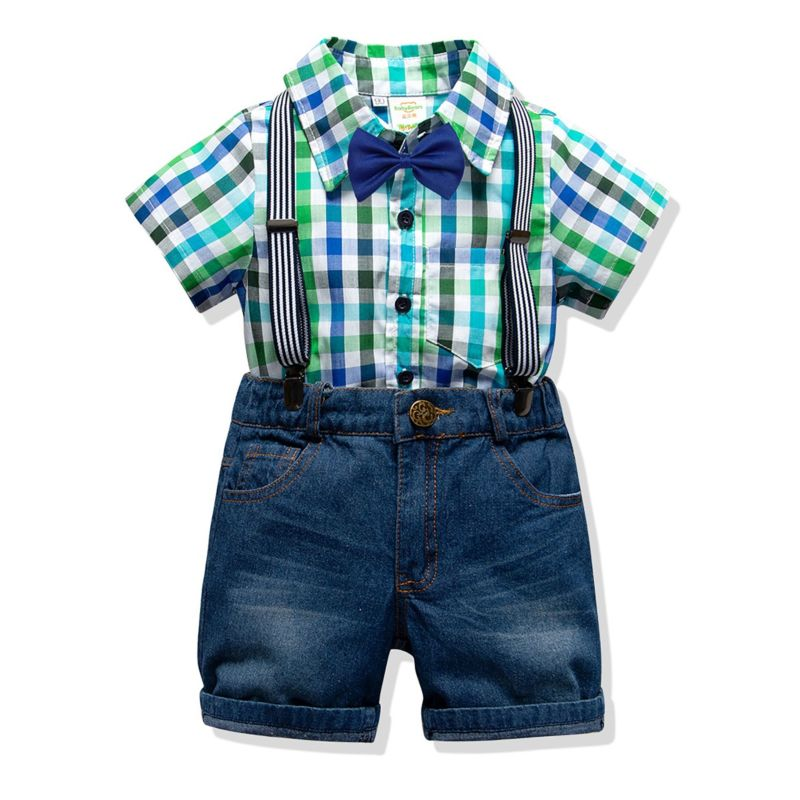 4-Piece Boys Kids Clothing Outfits Set Gingham Short-sleeved Button-down Shirt +Bowtie+Adjustable Shoulder Straps Denim Short Pants