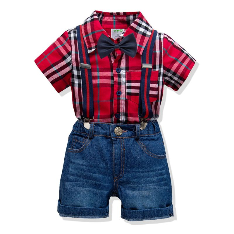 4-Piece Boys Kids Clothes Outfits Set Gingham Short-sleeved Button-down Shirt +Bowtie+Adjustable Shoulder Straps Jeans