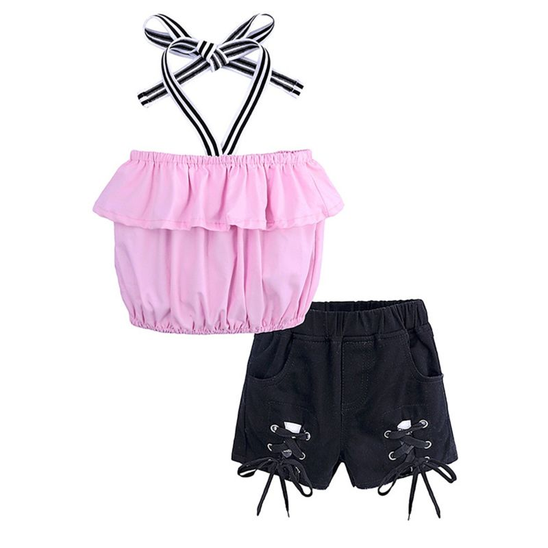 2-Piece Summer Fashion Baby Little Girl Frilled Halter Neck Crop Top+ Lace-up Short Pants Set