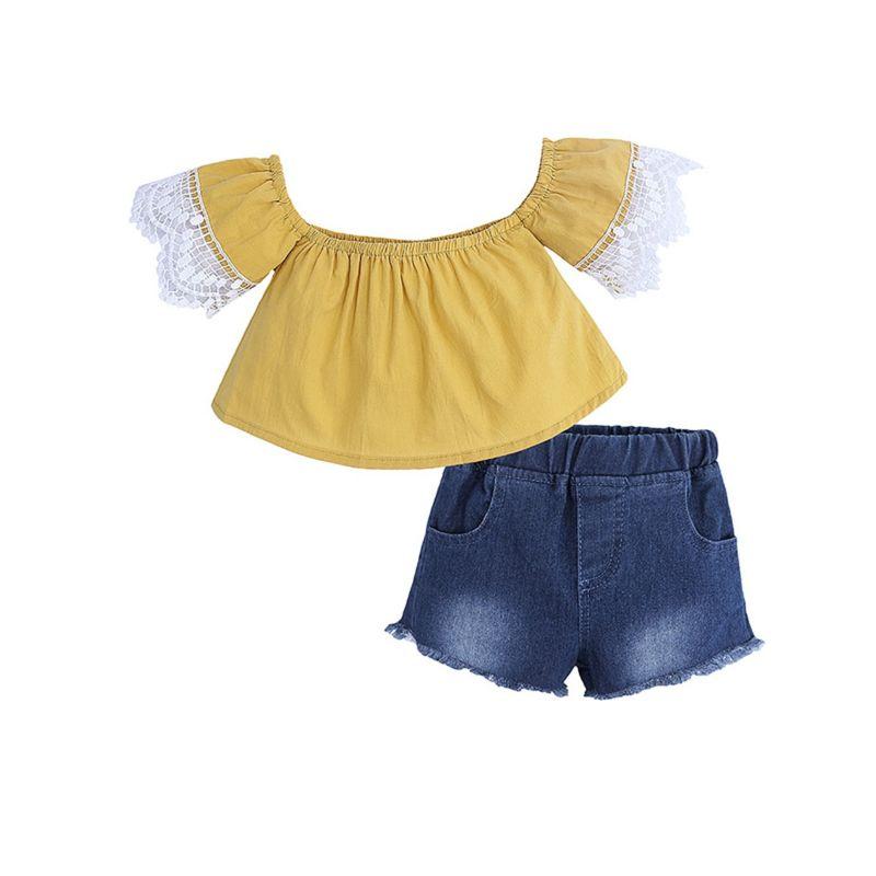 2-Piece Summer Baby Girl Lace-trimmed Off-shoulder Top + Fringe Short Denim Pants